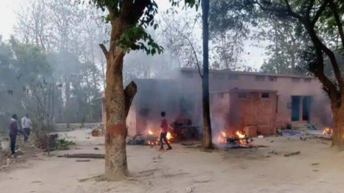 angry mob burnt police post